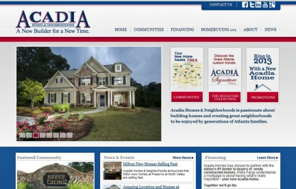 Acadia Homes & Neighborhoods Launches New Website in January 2013