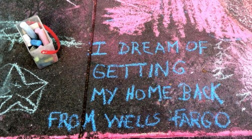 Larry Faulks Dreams of Home at MoAD Sidewalk Chalk Board.