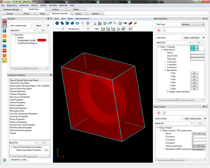 Newly redesigned meshing & geometry tab in FLOW-3D v10.1.