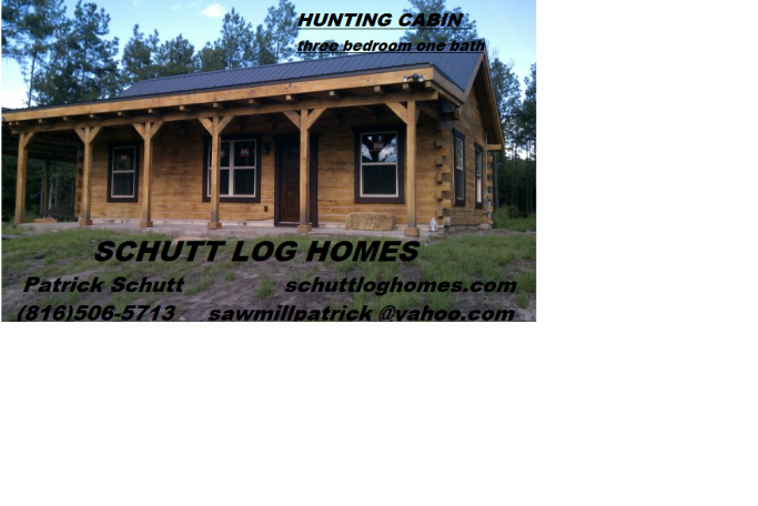 Schutt Log Homes and Mill Works 700 sq ft, 3 bedroom,Hunting Cabin