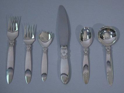 george jensen cactus sterling silver flatware serv