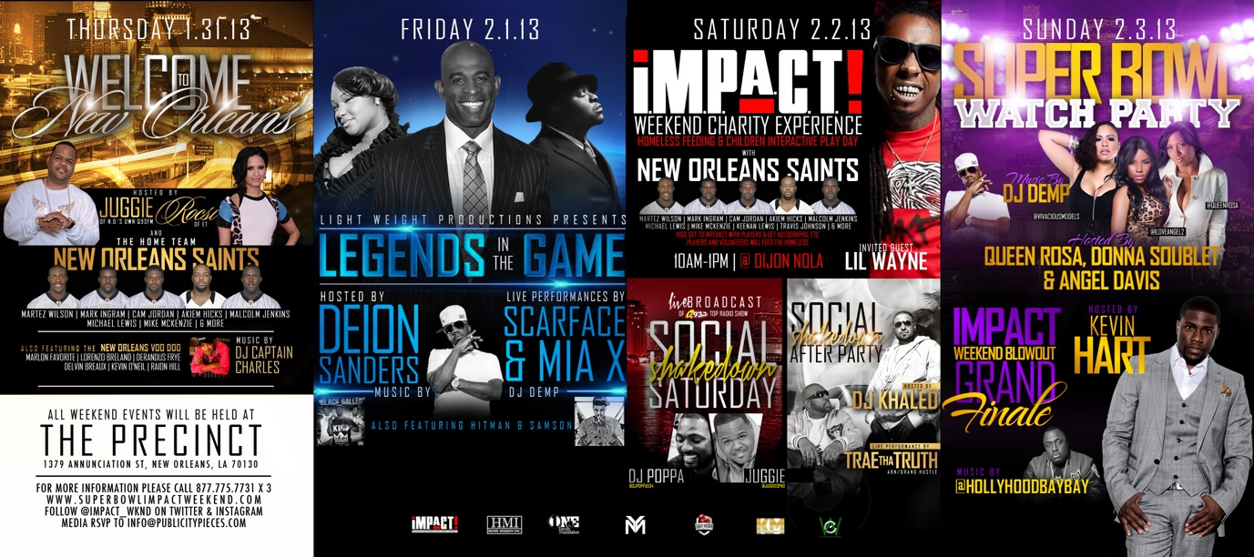 I.M.P.A.C.T Charity Weekend Super Bowl Line-Up
