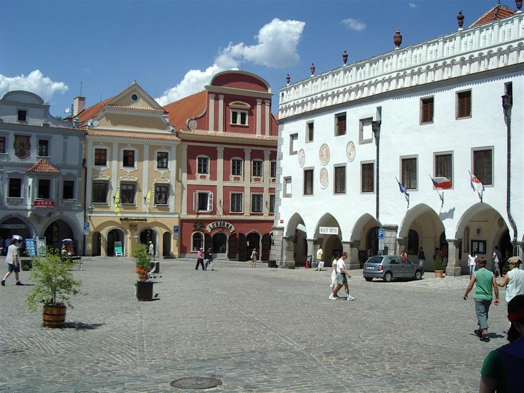 Cesky Krumlov's main square.