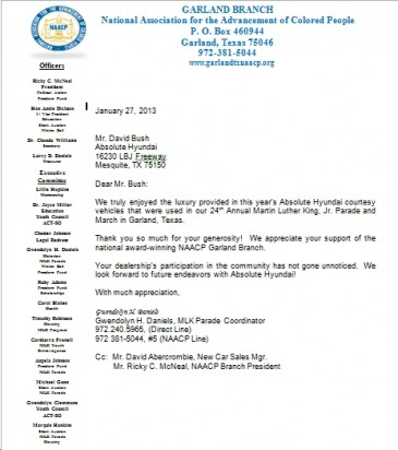 Garland NAACP Letter Appreciation to Absolute Dealership
