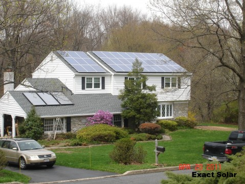 Solar PV and Solar Water Heating Panels on a PA Home
