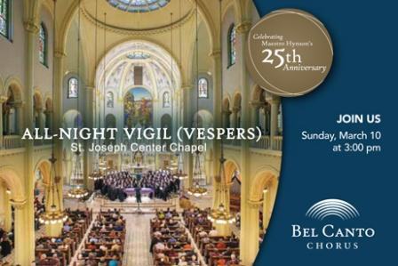 "Bel Canto Chorus Presents Rachmaninoff's ""All-Night Vigil"""