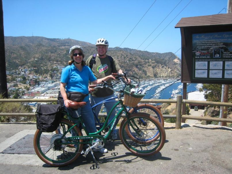 Brian and Beth bike to Wrigley Mansion on Catalina Island.