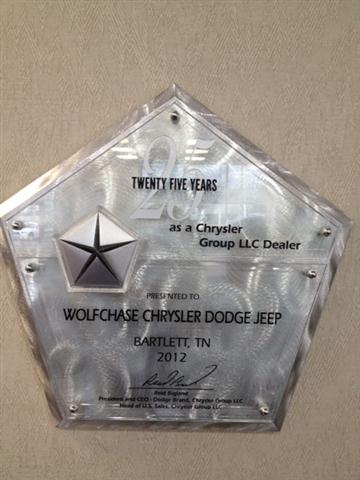 Wolfchase Chrysler Dodge Jeep RAM 25 year Award