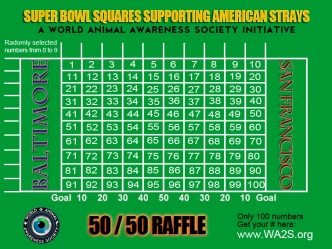 WA2S Super Bowl  football field Squares