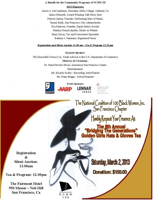 San Francisco NCBW Invitation to Golden Girls Hats & Gloves Tea, March 2, 2013.