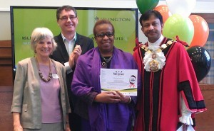 Care UK's Dennah Patterson receiving her award.