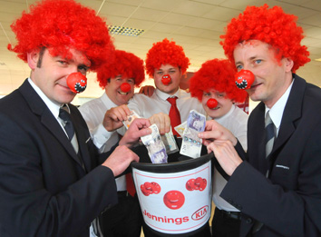 Staff at Jennings Kia are fundraising for Red Nose Day 2013