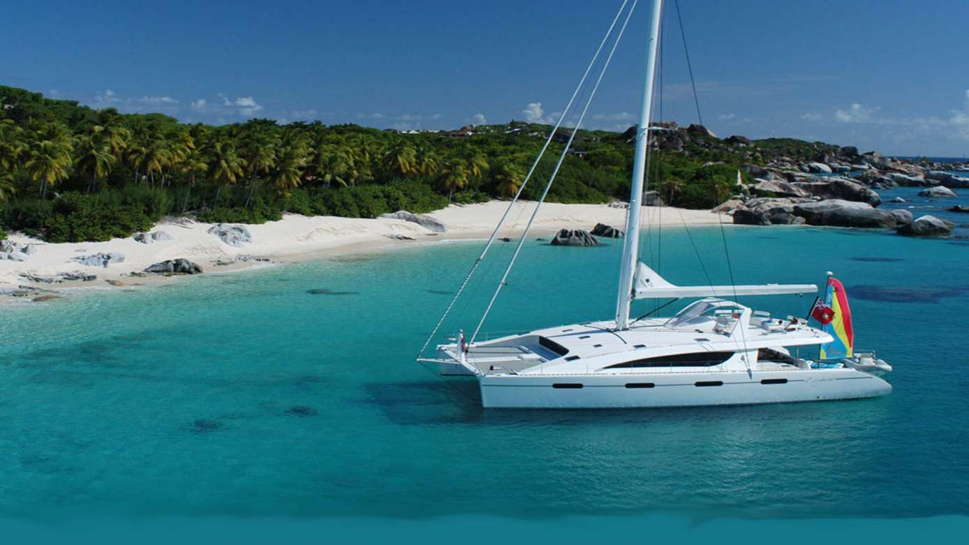 Yacht Zingara at Anchor in the Virgin Islands