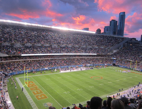 Sunset over Soldier Field