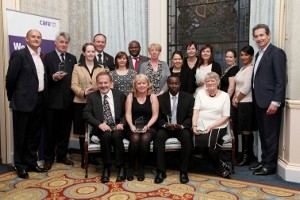 Care UK chief executive Mike Parish with winners of the Health Care Awards.