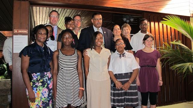 Gov. de Jongh with Members of St. Croix Junior Acheivement