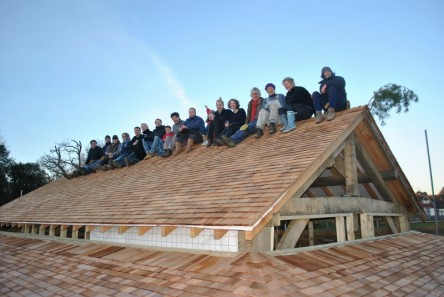 Weekend ceremony at Bedales completes roof of Sam Banks Pavilion