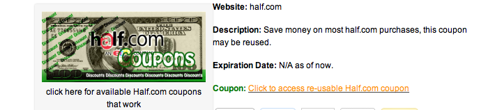Half.com coupon codes in February 2013!