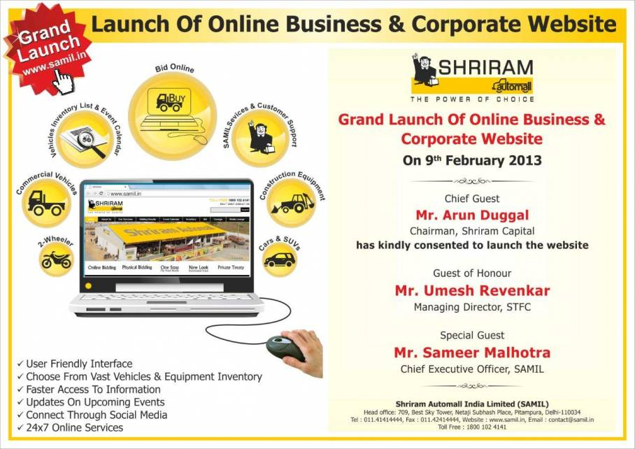 Shriram Automall Launches Corporate Website For Pre Owned Vehicles Equipment Www Samil In Prlog