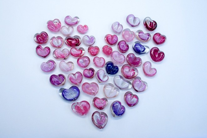 Heart paperweights by epiphany glass, StudioE line, are handmade in Pontiac, MI