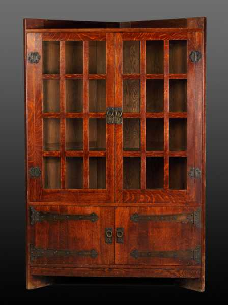 Gustav Stickley oak corner cupboard