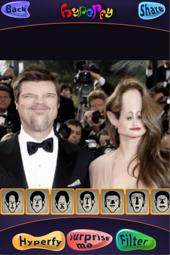 Hyperfy Face effects in action on Brad Pitt and Angelina Jolie
