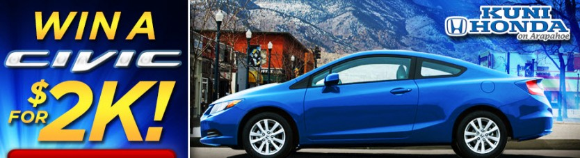 Win a Honda Civic for $2k at Kuni Honda on Arapaho