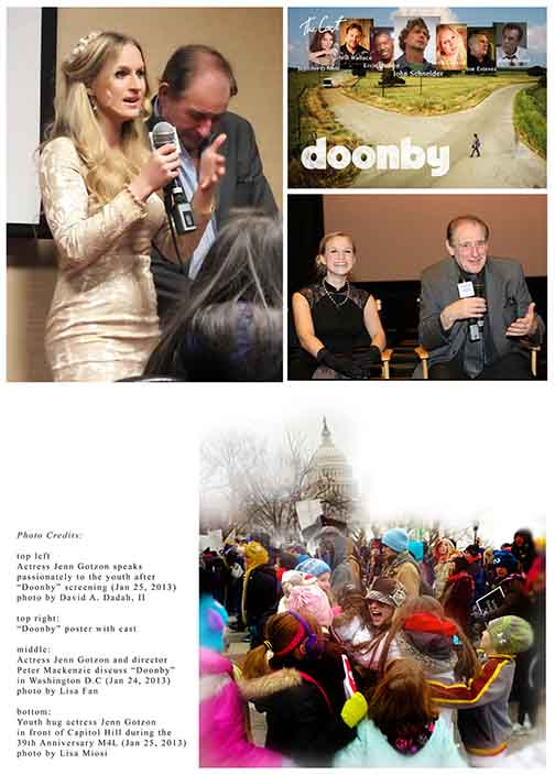 "Actress Jenn Gotzon speaks to the youth after Washington D.C. ""Doonby' Screening"