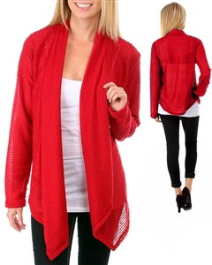 RCTX2012-RED TEXTURED BURNOUT OPEN CARDIGAN