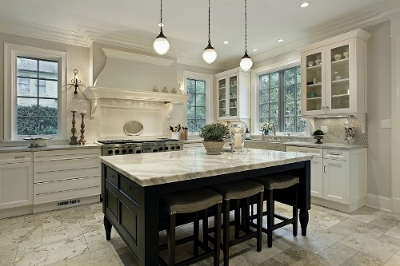 Kitchen Island With Carrera Marble Counter Top