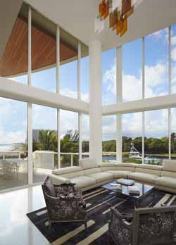 The dramatic living room of Beach Villa 101 has ocean and Intracoastal views.