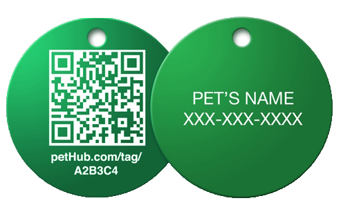 PetHub's basic tag - one of many designs - links to free online pet profile