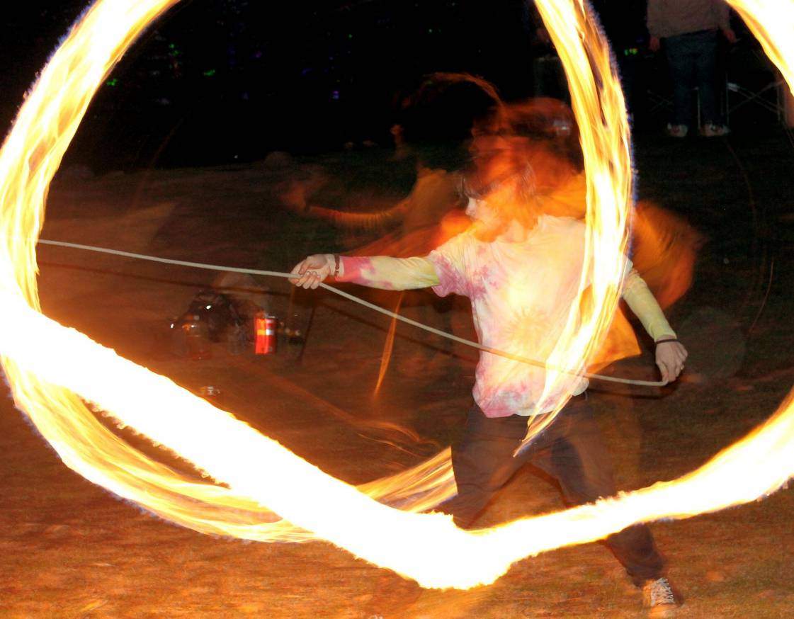 Fire Performer, David Ormonde Performing Rope Dart