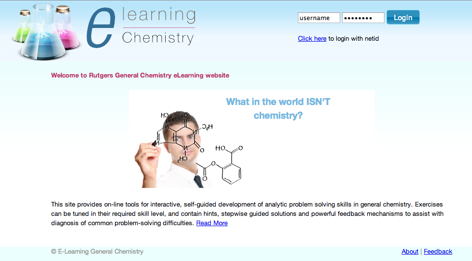 The General Chemistry eLearning System will launch in the Fall.