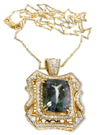 14K gold 15.49 carat cushion rectangular cut natural zoisite & diamond pendant