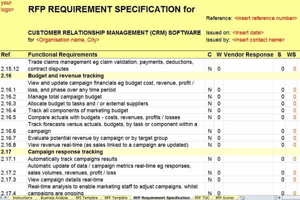 CRM RFI/RFP Template: Budget Tracking Requirements
