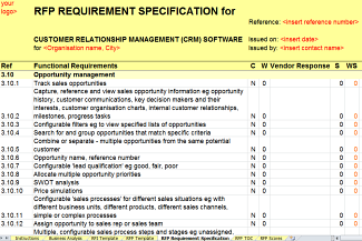 CRM RFI/RFP Template: Sales Opportunity Management Requirements