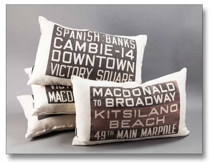 Museum of Vancouver Bus Scroll Throw Pillows by Pillow Decor