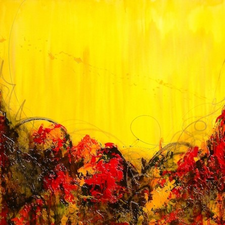 """Water Marks on Yellow and Orange, 48""""x48"""", mixed media on canvas"""