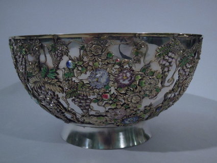 japanese enameled silver bowl with wisteria 1880