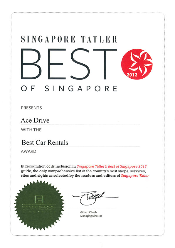 Ace Drive's Best Car Rental Award For Year 2013