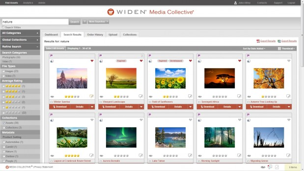 Widen Media Collective v6.3 features a redesigned search results page