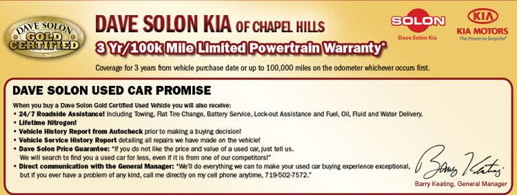 Dave Solon Kia 3 yr 100k Mile Limited Powertrain W