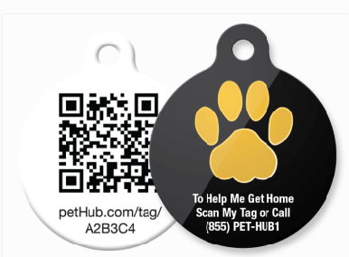 "PetHub ""Gold Paw"" tag with free 24x7 call center"