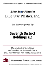 Blue Star Plastics acquired by Seventh District Holdings, LLC