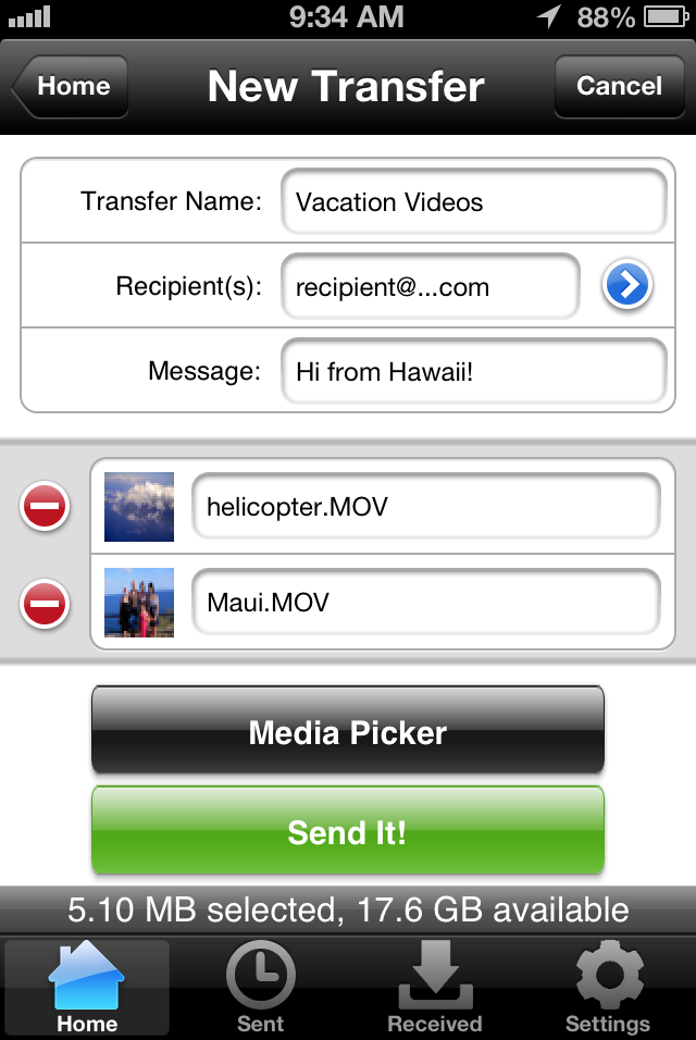 TransferBigFiles.com native iOS app