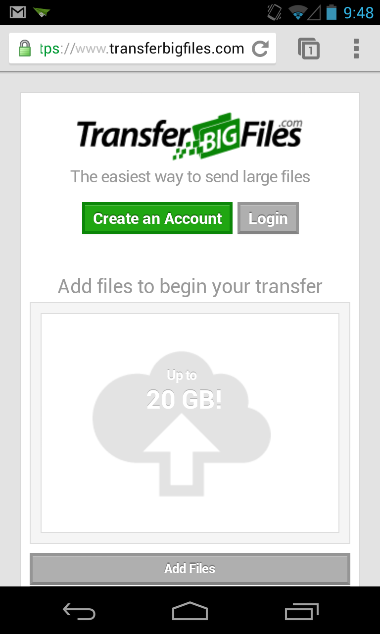 TransferBigFiles.com web app on Android