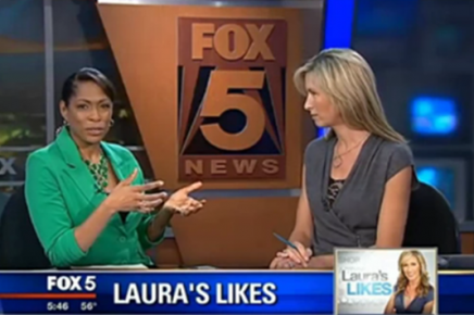 Fox 5 News Anchor, Laura Evans, Wears Black Lace Cleavitz