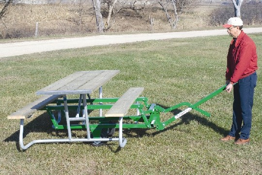 Picnic Table Transporter Makes Moving Tables Easy RJ Thomas Mfg - Picnic table mover