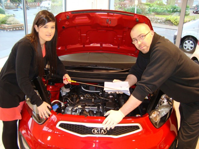 Staff at Brayley Kia promoting the new workshops